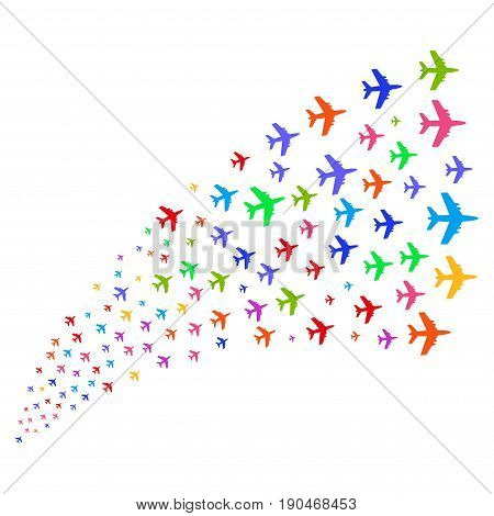 Fountain of jet plane symbols. Vector illustration style is flat bright multicolored iconic jet plane symbols on a white background. Object fountain created from pictograms.