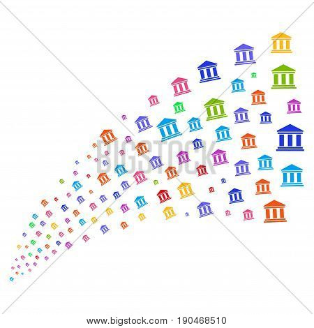 Fountain of library building icons. Vector illustration style is flat bright multicolored iconic library building symbols on a white background. Object fountain done from icons.