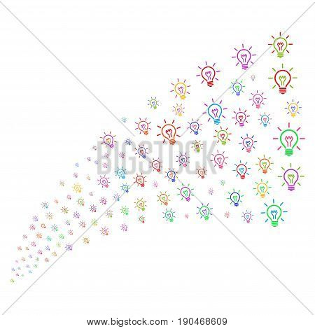 Source stream of light bulb icons. Vector illustration style is flat bright multicolored iconic light bulb symbols on a white background. Object fountain constructed from icons.