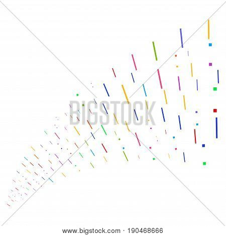 Fountain of lines and dots symbols. Vector illustration style is flat bright multicolored iconic lines and dots symbols on a white background. Object fountain created from pictographs.