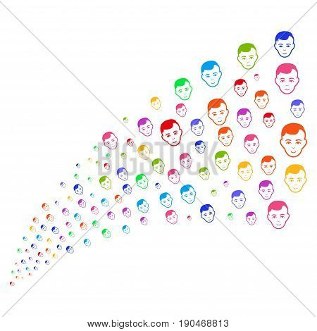 Fountain of man head icons. Vector illustration style is flat bright multicolored iconic man head symbols on a white background. Object fountain made from pictograms.