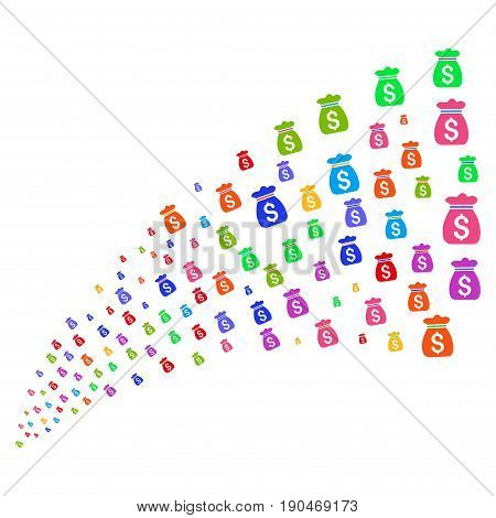 Source stream of money bag symbols. Vector illustration style is flat bright multicolored iconic money bag symbols on a white background. Object fountain constructed from icons.