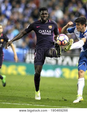 BARCELONA, SPAIN - APRIL, 29: Samuel Umtiti of FC Barcelona during a Spanish League match against RCD Espanyol at the RCDE Stadium on April 29 2017, in Barcelona Spain