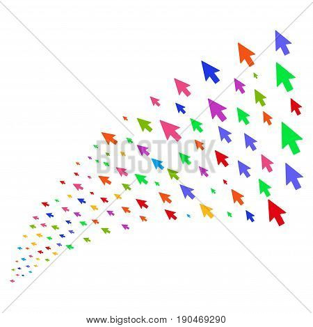 Source of mouse cursor symbols. Vector illustration style is flat bright multicolored iconic mouse cursor symbols on a white background. Object fountain organized from icons.