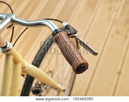 Bicycle Handle Bar With Leather Grip And Break.