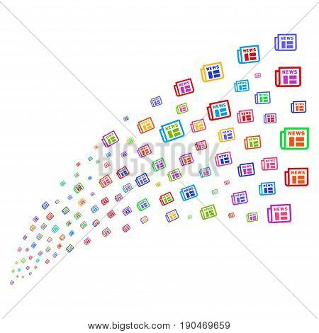 Source of newspaper symbols. Vector illustration style is flat bright multicolored iconic newspaper symbols on a white background. Object fountain made from icons.