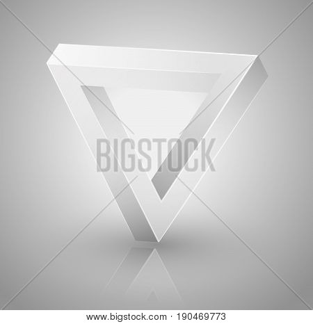 impossible geometry. Optical illusion triangle icon penrose geometric. Vector Illustration isolated on white. Sacred geometry. Futurism.