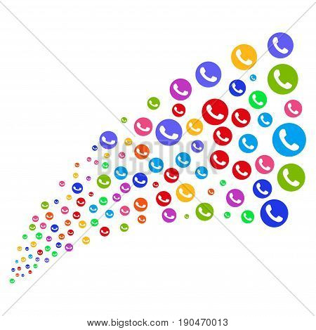Fountain of phone number symbols. Vector illustration style is flat bright multicolored iconic phone number symbols on a white background. Object fountain constructed from icons.