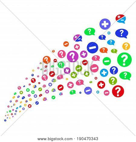 Stream of pros and cons arguments symbols. Vector illustration style is flat bright multicolored iconic pros and cons arguments symbols on a white background. Object fountain made from icons.