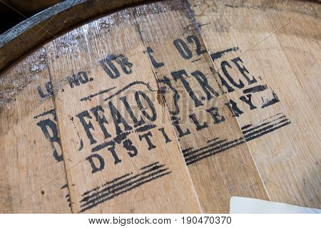 Frankfurt United States: May 4 2017: Buffalo Trace Distillery Stencil on Barrel Head Along Kentucky Bourbon Trail