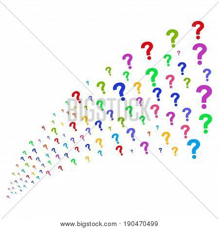 Stream of question icons. Vector illustration style is flat bright multicolored iconic question symbols on a white background. Object fountain made from design elements.
