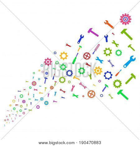 Source of repair instruments symbols. Vector illustration style is flat bright multicolored iconic repair instruments symbols on a white background. Object fountain constructed from pictographs.