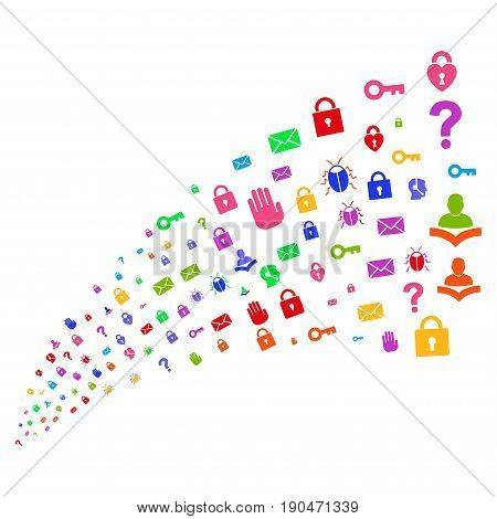 Source of secrecy symbols. Vector illustration style is flat bright multicolored iconic secrecy symbols on a white background. Object fountain done from pictograms.