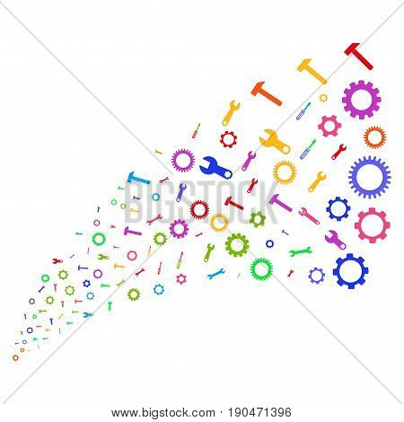 Source of setup tools symbols. Vector illustration style is flat bright multicolored iconic setup tools symbols on a white background. Object fountain organized from pictographs.