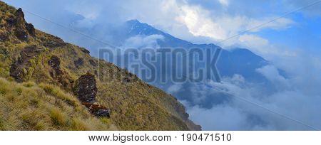 Mountain panorama Landscape in Himalaya. Cloudscape. Nepal, Mardi Himal track, Annapurna region.