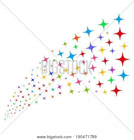 Fountain of space star icons. Vector illustration style is flat bright multicolored iconic space star symbols on a white background. Object fountain done from pictograms.