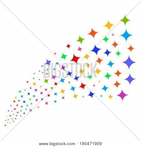 Source of sparcle star icons. Vector illustration style is flat bright multicolored iconic sparcle star symbols on a white background. Object fountain done from design elements.