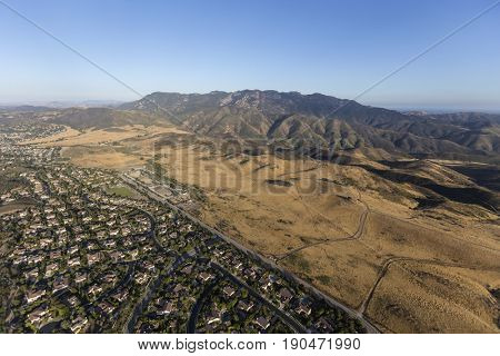 Aerial view of Thousand Oaks, Newbury Park and Mt Boney in the Santa Monica Mountains National Recreation Area of Ventura County, California.