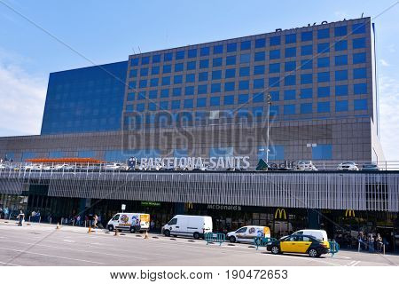 BARCELONA, SPAIN - MAY 31, 2017: A view of the facade of Barcelona Sants train station, the main station of the city and the busiest