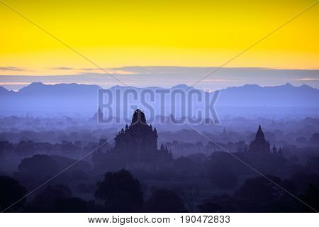 Beautiful scenery during sunrise at the pagoda of Bagan Myanmar
