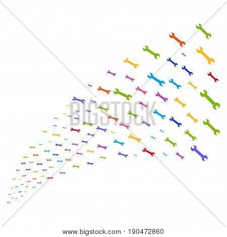 Source stream of wrench icons. Vector illustration style is flat bright multicolored iconic wrench symbols on a white background. Object fountain organized from design elements.