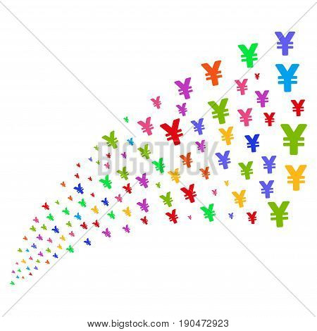 Source stream of yen icons. Vector illustration style is flat bright multicolored iconic yen symbols on a white background. Object fountain organized from pictograms.