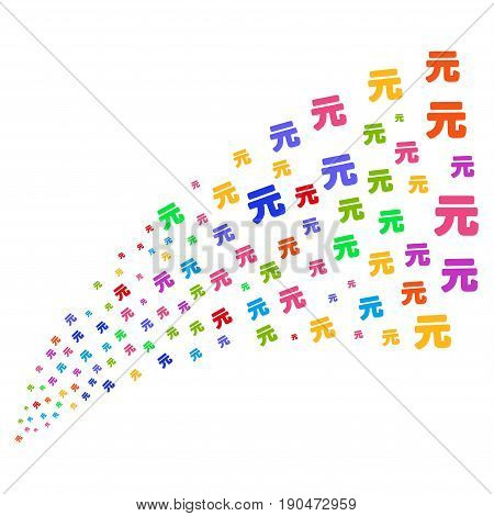 Source stream of yuan renminbi icons. Vector illustration style is flat bright multicolored iconic yuan renminbi symbols on a white background. Object fountain made from design elements.