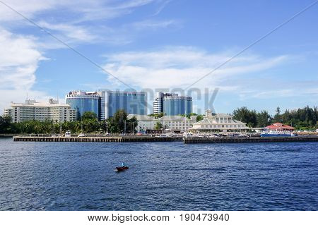 View of Labuan town in Labuan,Malaysia.Labuan is an international financial centre & Malaysia only deep water anchorage