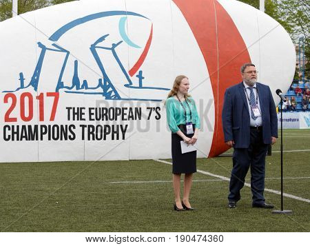 ST. PETERSBURG, RUSSIA - MAY 27, 2017: Head of Federal Antimonopoly Service Igor Artemiev during the opening ceremony of Rugby Europe Sevens Club Champion's Trophy.