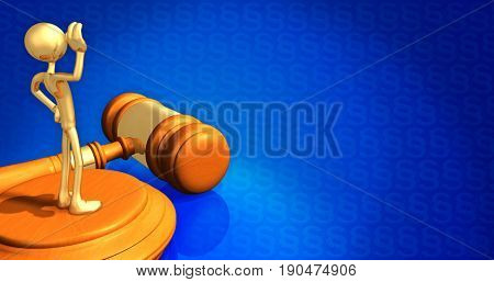Witness Law Concept With The Original 3D Character Illustration