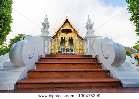 Wat Phra Singh temple is located in the western part of the old city center of Chiang Mai Thailand.