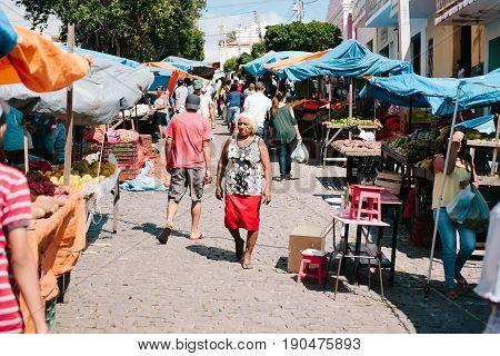 Picui, Paraiba, Brazil - June 3, 2017 - A Typical Farmers Market In The Northeastern Region Of Brazi