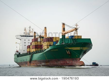 Cargo Ship On The Sea In Haiphong, Vietnam