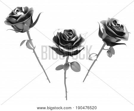 Roses metal 3d illustration isolated horizontal over white