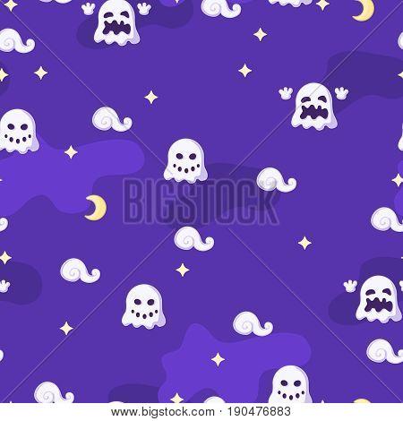 Night small ghosts Halloween cartoon seamless tile vector texture pattern