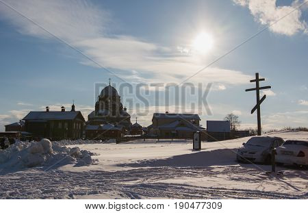 Kazan, Russia - 28 february 2017 - Sviyazhsk Island : Russian ethnic carnival Maslenitsa - Orthodox monastery on the background of a bright blue sky - a sunny frosty day