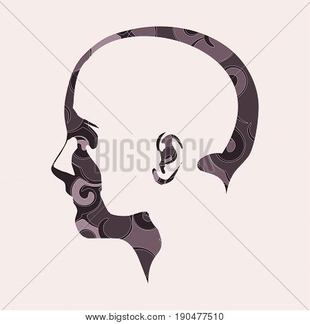 Face side view. Elegant silhouette of a female head decorated by spiral pattern. Vector Illustration. Monochrome gamma.