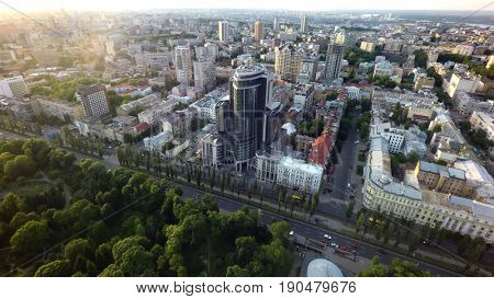 aerial view of the Boulevard of Shevchenko, Kiev, Ukraine,