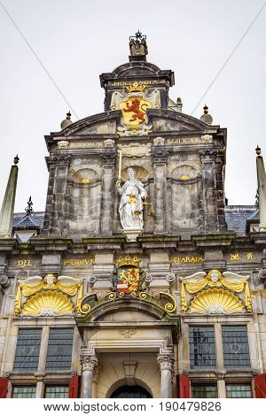 City Hall Facade Justice Statue Delft Holland Netherlands. Built in the 1700s Renaissance Style Located Across from the New Church Nieuwe Kerk next to the Marke.