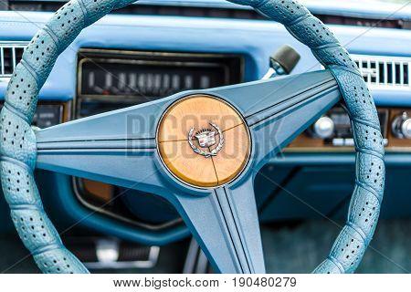 PAAREN IM GLIEN GERMANY - JUNE 03 2017: Interior of a full-size personal luxury car Cadillac Eldorado (Seventh generation). Exhibition