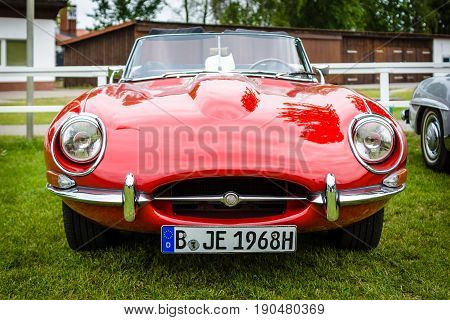 PAAREN IM GLIEN GERMANY - JUNE 03 2017: Sports car Jaguar E-Type Mk1. Exhibition