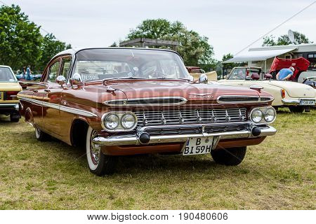 PAAREN IM GLIEN GERMANY - JUNE 03 2017: Full-size car Chevrolet Bel Air 4-Door Sedan 1959. Exhibition