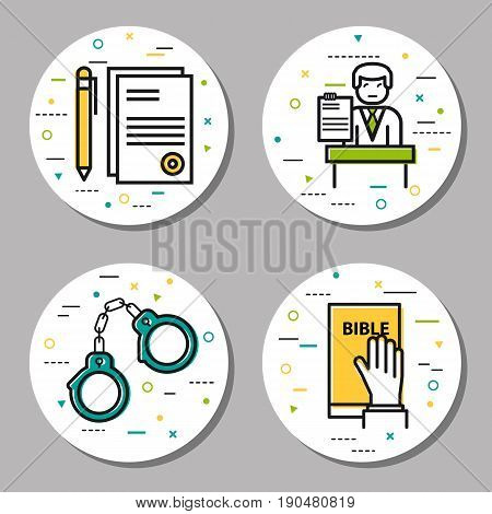 Vector four round judiciary linear icons with additional elements. Documentation, handcuffs, lawyer and vows for the Bible