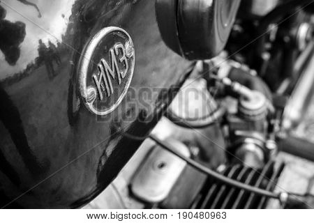 PAAREN IM GLIEN GERMANY - JUNE 03 2017: Emblem of a Soviet heavy motorcycle with a stroller IMZ-Ural. Black and white. Exhibition