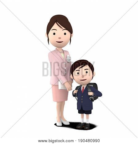 3D illustration,  boy and mom in elementary school entrance ceremony