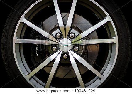 PAAREN IM GLIEN GERMANY - JUNE 03 2017: Brake system of a sports car Aston Martin Vantage 2010. Exhibition