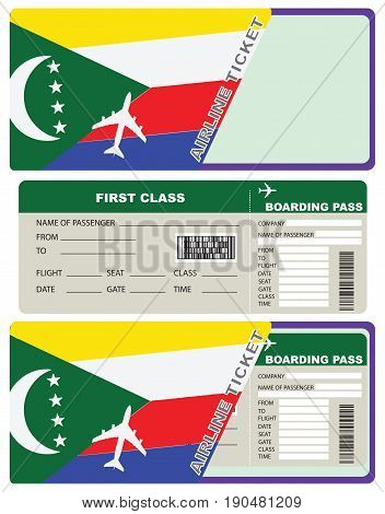 Tickets for air travel. Set ticket with envelope Comoros flag.