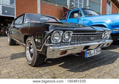 PAAREN IM GLIEN GERMANY - JUNE 03 2017: Mid-size car Chevrolet Chevelle SS396 Hardtop Coupe 1966. Exhibition