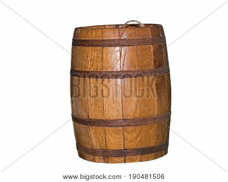 the Old wooden barrel on white background