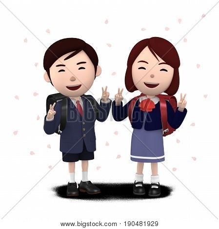 3D illustration,  Boys and girls in elementary school entrance ceremony Cherry blossoms background